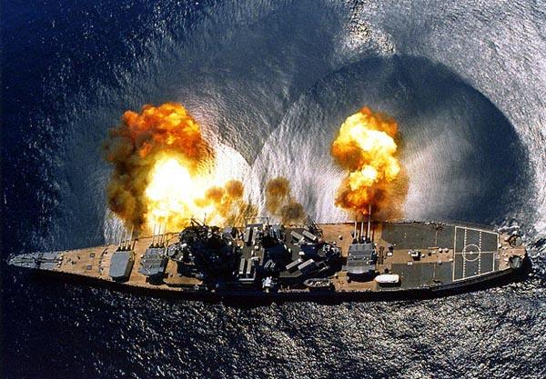 USS Iowa broadside naval gunfire navy battleship