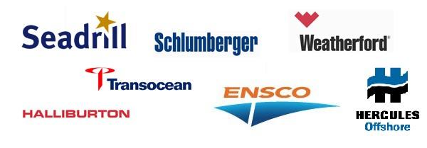 offshore contractors drilling schlumberger halliburton transocean seadrill ensco hercules weatherford