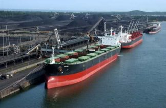 File photo of dry bulk ships