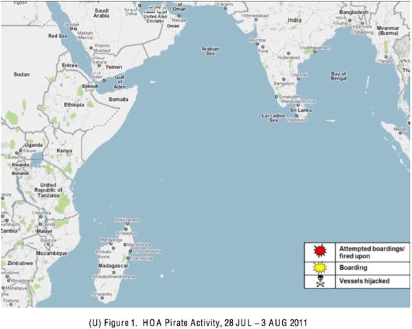 Piracy indian ocean map