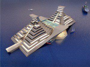 floatel ship - pyramid shape floating hotel