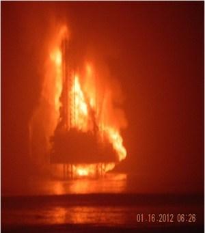 KS Endeavor jack-up on fire in 2012. Photo: Chevron