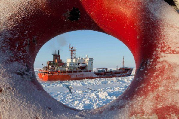 Ship Ice Breaking In The Arctic Circle