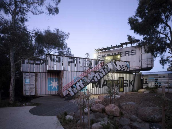 childrens activity center shipping containers phooey architects architecture