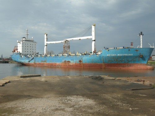 cargo ship laid up