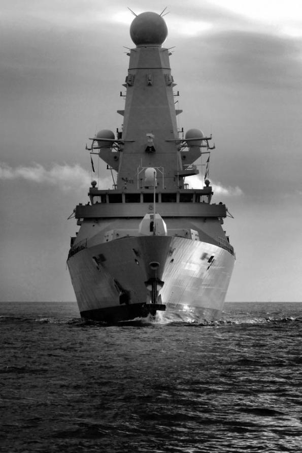 HMS Dauntless black and white