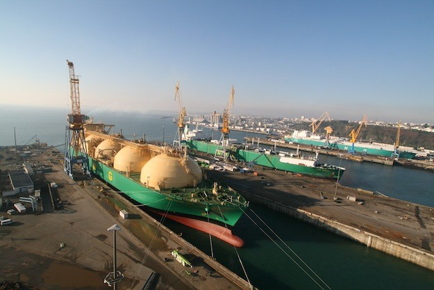 Nigeria LNG subsidiary Bonny Gas LNG carriers in dry dock at Sobrena Shiprepair (currently Damen Shiprepair Brest). Photo: Damen