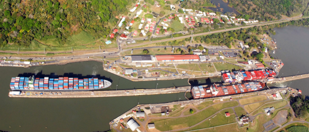 panama canal aerial locks shipping containerships