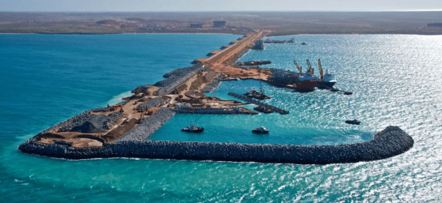 Materials offload facility breakwater chevron gorgon