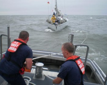 USCG Sailboat storm rescue at sea