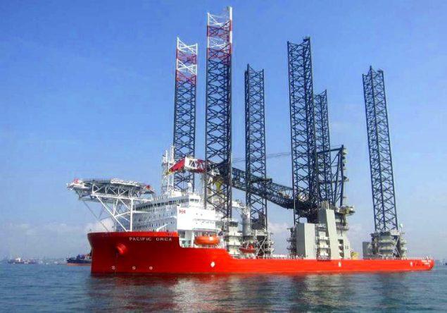 blue ocean wind farm installation vessel jack-up