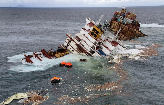 Debris comes off the MV Rena on January 10 as part of the vessel slips off the reef. Image credit: Maritime New Zealand