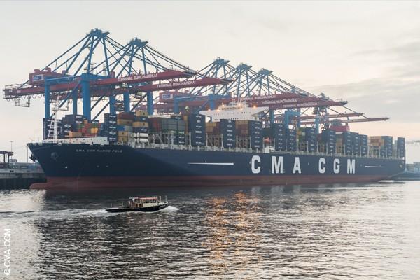 CMA CGM Marco Polo in Hamburg.