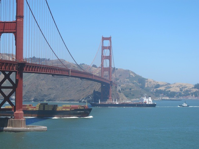 Undated file photo of ship traffic under the Golden Gate Bridge. Photo: Mike Schuler
