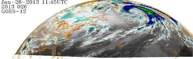 NOAA IR Satellite 1145Z 26 January 2013 showing 930 mb hurricane force storm.