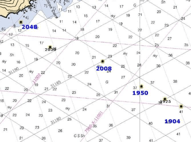 This map shows the 12/31/12 trajectory of the Kulluk along with time stamps.