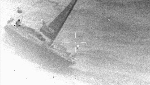 he sailing vessel Wolfhound is seen here approximately 80 miles north of Bermuda in the FLIR camera of a Coast Guard HC-130 Hercules from Air Station Elizabeth City, N.C., Feb. 9, 2013. US Coast Guard Photo