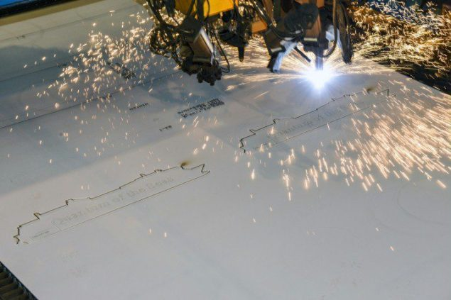 It took the plasma torch in the yard's state-of-the-art laser centre merely a couple of minutes to cut a silhouette of the new ship from the steel plate. Photo: Meyer Werft