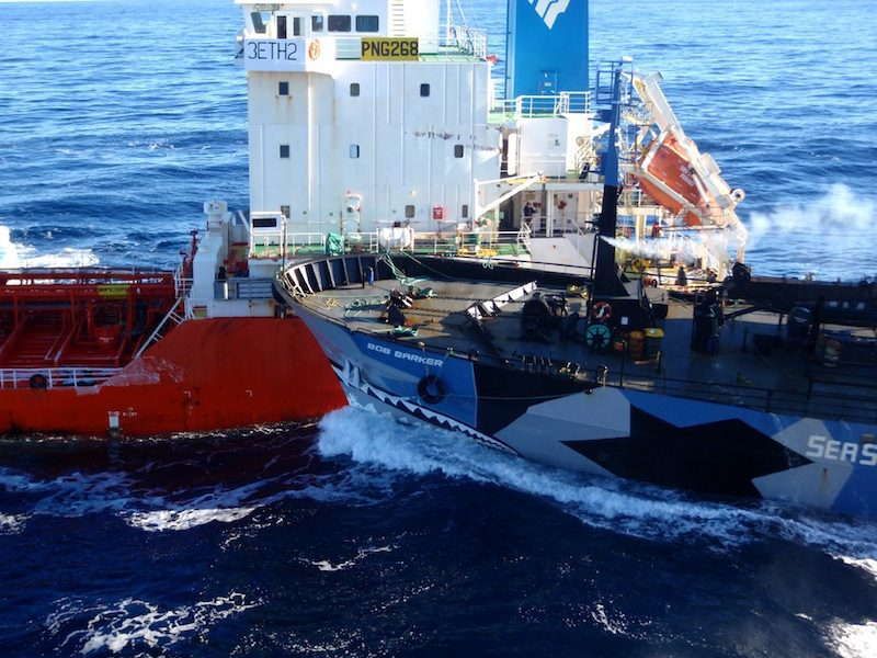 Sea Shepherd vessel Bob Barker (R) collides with the fuel tanker ship Sun Laurel as Japanese mother survey ship Nissin Maru (R) tries to pull alongside in the Antarctica in this handout photo taken and released by the Institute of Cetacean Research (ICR) February 25, 2013. Mandatory Credit REUTERS/The Institute of Cetacean Research/Handout (ANTARCTICA - Tags: POLITICS MARITIME ENVIRONMENT) ATTENTION EDITORS - THIS IMAGE WAS PROVIDED BY A THIRD PARTY.THIS PICTURE IS DISTRIBUTED EXACTLY AS RECEIVED BY REUTERS, AS A SERVICE TO CLIENTS IT IS DISTRIBUTED, EXACTLY AS RECEIVED BY REUTERS, AS A SERVICE TO CLIENTS FOR EDITORIAL USE ONLY. NOT FOR SALE FOR MARKETING OR ADVERTISING CAMPAIGNS