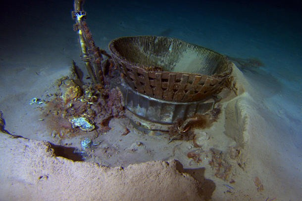 The thrust chamber from the Apollo 11 mission, found on the Atlantic Ocean floor by Bezos Expeditions. (Credit: Bezos Expeditions)