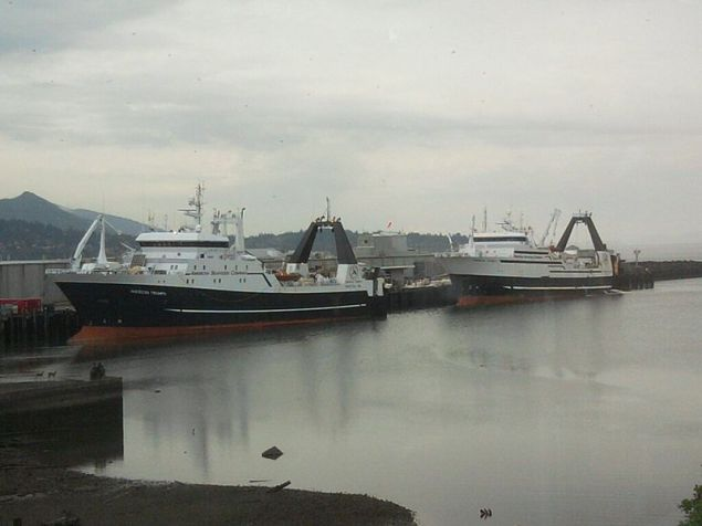 File photo of American Seafoods Company's American Triumph (left) and American Dynasty (right), docked at Bellingham Cold Storage in Bellingham, Washington.