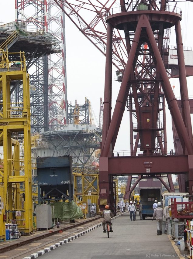 Mobile cranes are one of the most distinctive features of a shipyard. (c) R.Almeida/gCaptain