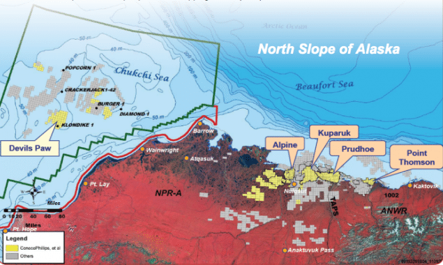 "ConocoPhillips proposed exploratory drilling program, presented during NOAA's annual Arctic Open Water Meeting, will focus on the ""Devils Paw"" prospect located 80 miles offshore in the shallow waters of Chukchi Sea, Alaska."