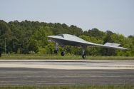 (May 14, 2013) The X-47B Unmanned Combat Air System (UCAS) demonstrator lands at Naval Air Staion Patuxent River, Md., after completing the first launch of an unmanned aerial vehicle from an aircraft carrier. (U.S. Navy photo by Kelly Schindler/Released)
