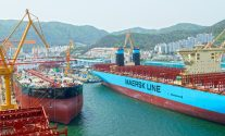 Photo Of The Majestic Maersk at DSME Shipyard Okpo South Korea