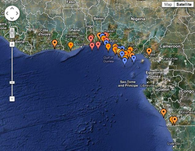 IMB's 2012 Piracy map for the Gulf of Guinea.