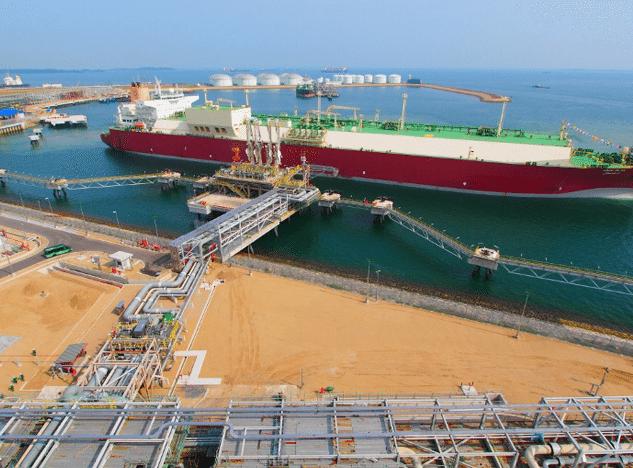 An LNG ship at terminal 1 at Singapore LNG Corp's new terminal at Jurong Island. Photo: Singapore LNG Corp.
