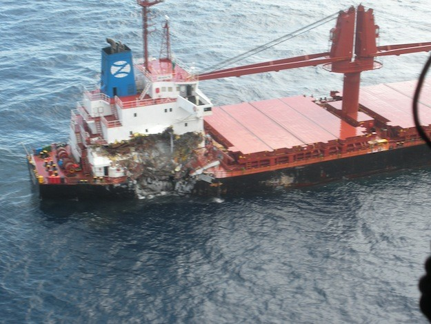 An aerial view of the damage to the M/V Seagate. Luckily, no injuries were reported. Photo: USCG