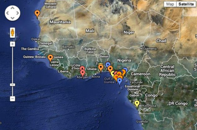 IMB's 2012 Piracy Map for Gulf of Guinea. Click to interact