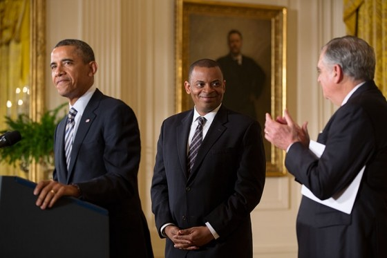 President Barack Obama announces Mayor Anthony Foxx, of Charlotte, N.C., as his nominee for Transportation Secretary, in the East Room of the White House, April 29, 2013. Outgoing Transportation Secretary Ray LaHood applauds at right. (Official White House Photo by Pete Souza)