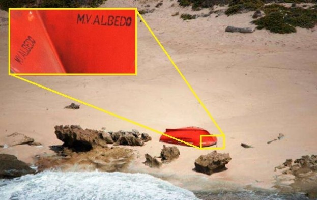 This image from EU NAVFOR clearly shows the lifeboat belongs to the MV Albedo.