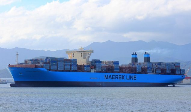 MV Maersk Mckinney Moller, Maersk Line's first Triple-E and the world's largest containership, departs Busan, South Korea on her maiden voyage in July 2013. Image (c) Vladimir Toniæ