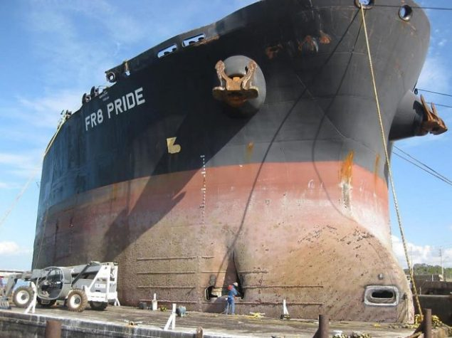 Damage to the FR8 Pride, including the puncture to the hull below the waterline, visible in the lower center of the image. Photo provided by the Coast Guard.
