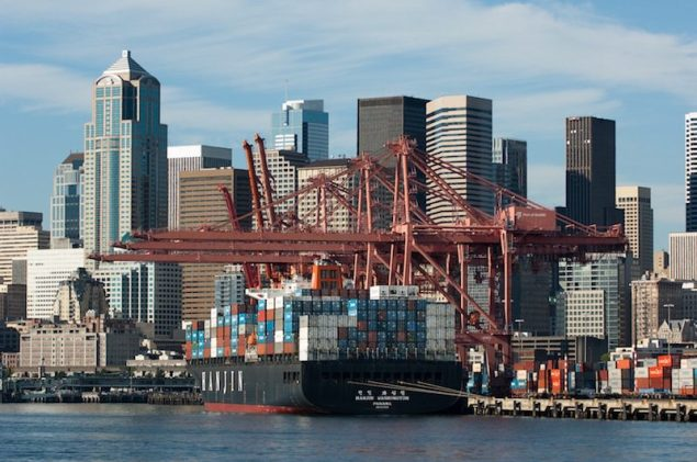 File photo of a Hanjin containership at the Port of Seattle. Image credit: Port of Seattle/Don Wilson