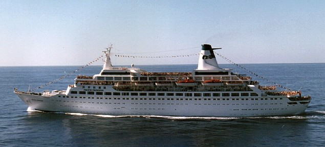 MS Pacific Princess, circa 1987, via Wikipedia