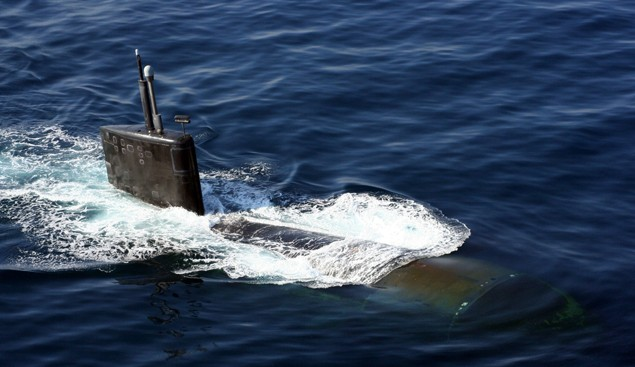 Nov. 11, 2007.  The Los Angeles-class nuclear-powered fast-attack submarine USS Miami (SSN 755) surfaces in the North Arabian Sea during an anti-submarine warfare (ASW) exercise with the Enterprise Carrier Strike Group. U.S. Navy photo by Lt. Scott Miller
