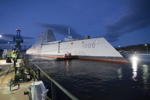 BATH, Maine (Oct. 28, 2013) The Zumwalt-class guided-missile destroyer DDG 1000 is floated out of dry dock at the General Dynamics Bath Iron Works shipyard. U.S. Navy photo