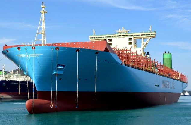 Maersk Line's first Triple-E class containership with a fresh coat of paint at the DSME shipyard in Okpo, South Korea. Image Maersk Line