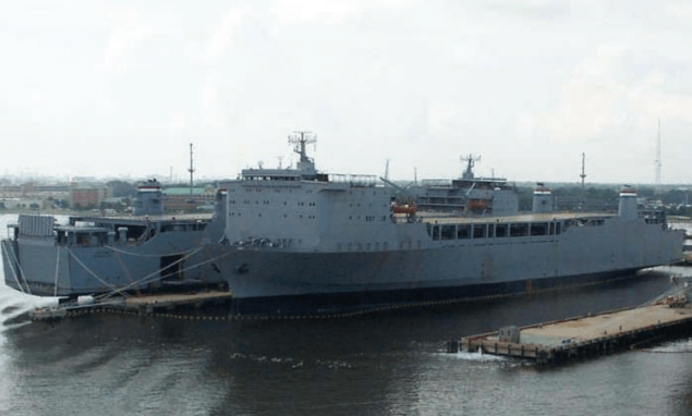 The MV Cape Ray is one of three CAPE R-class Ro/Ro cargo ships in the Maritime Administration's Ready Reserve Force.