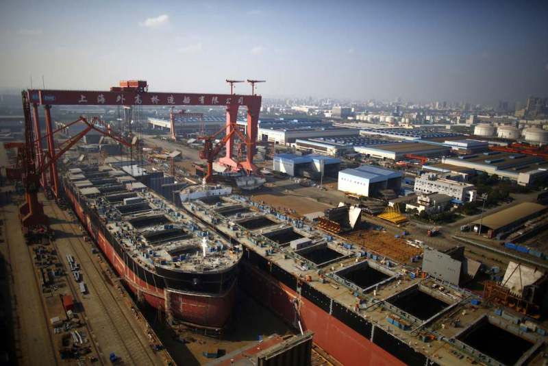 A vessel is seen under construction at the Waigaoqiao shipyard in Shanghai November 5, 2013. REUTERS/Carlos Barria