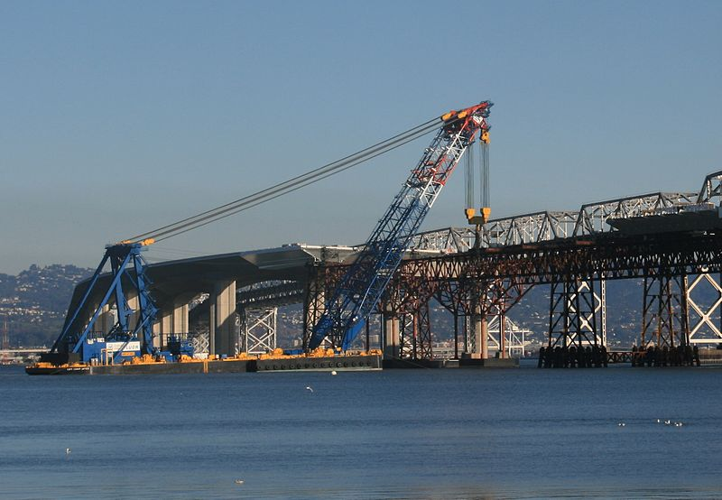 """The """"Left Coast Lifter"""" seen in 2011 during the construction of the new eastern span of the SF-Oakland Bay Bridge"""