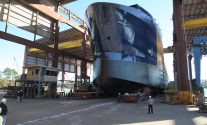 Harvey Gulf's STX-designed dual fuel OSV under construction at Gulf Coast Shipyard. Photo courtesy Gulf Coast Shipyard Group