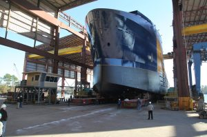Harvey Gulf dual fuel OSV under construction at Gulf Coast Shipyard.