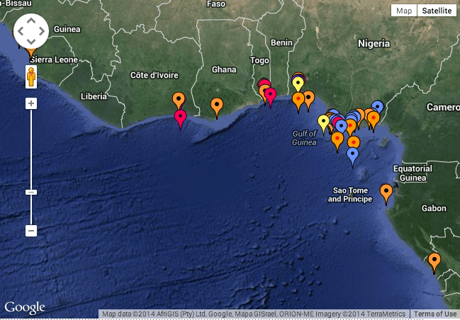 This 2013 Piracy Map from 2013 shows most attacks occurred off Nigeria, but pirates are reaching the Ivory Coast (Cote de Ivory).