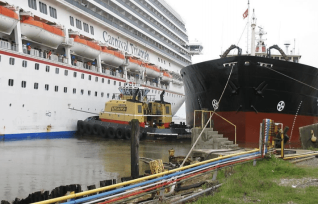 This image, taken by Coast Guard investigators from the bulkhead of the Signal Ship Repair facility shortly after the collision, shows the positions of (from left to right) the Carnival Triumph, Noon Wednesday, and Wheeler. Photo: NTSB