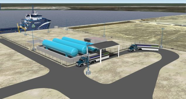 An illustration of Harvey Gulf's LNG fueling facility at Port Fourchon. Image courtesy Harvey Gulf